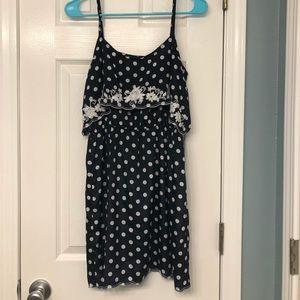 Navy scalloped polka dot dress